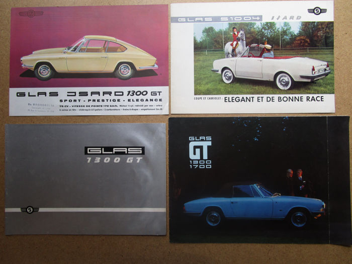 Glas - set of 4 brochures 1300GT coupe and roadster,  1700GT coupe and convertible, S1004 coupe and convertible - around 1960