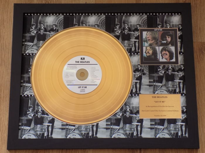 "The Beatles "" Let It Be "" 24kt gold disc LP."