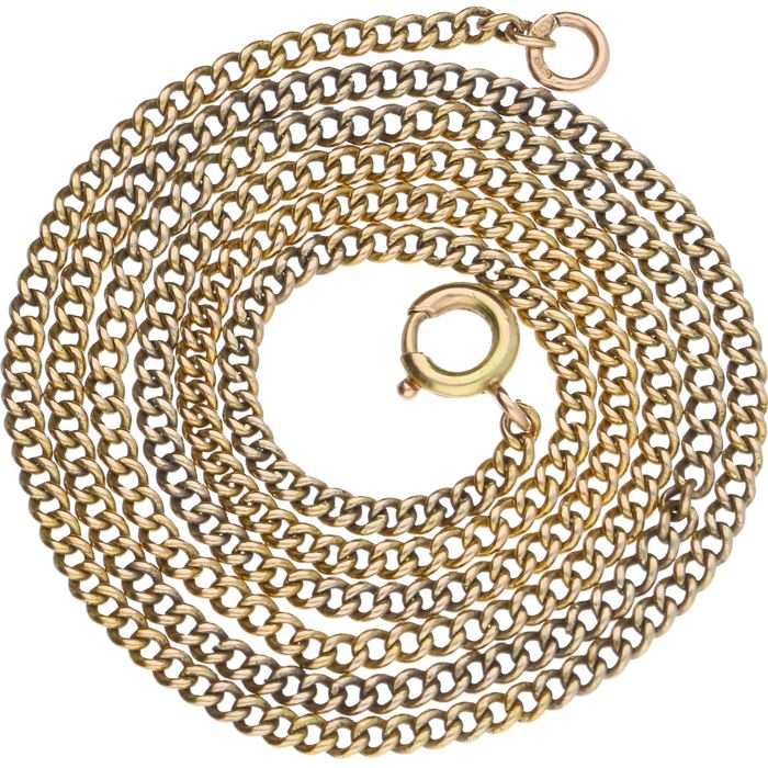 Yellow gold curb link necklace – 49.1 cm