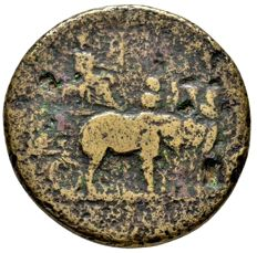 Roman Empire - Titus (79 - 81 A.D.), orichalcum sestertius (24,65 grs. 34 mm.) minted in Rome, 80 A.D. In honour to Divus Vespasianus, seated in honorary car drawn right by four elephants. Very rare!!