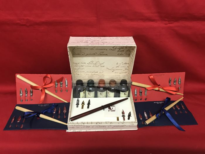 Writing set with nibs and inks + 4 complete sets with wooden pen nibs