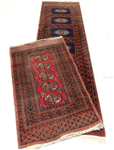Beautiful Set of Pakistani runner/rug circa 1980/90s c. 190x65cm and 102x65cm