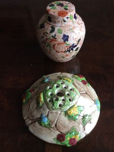 Thomas Lawrence, Falcon Pottery and Royal Cauldon Pottery - Ceramic Flower Frog and ginger jar