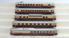 """Roco H0 - 45811/45924 - 5 """"TEE Rheingold"""" express train carriages including amongst others 1st class and a panorama carriage and dining carriage of the DB"""