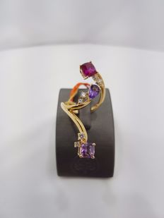 Alfieri & St John - 18ct Yellow Gold Diamond & Amethyst & Garnet Ring - Size EU 53.1/Japanese 16.9/British M-N