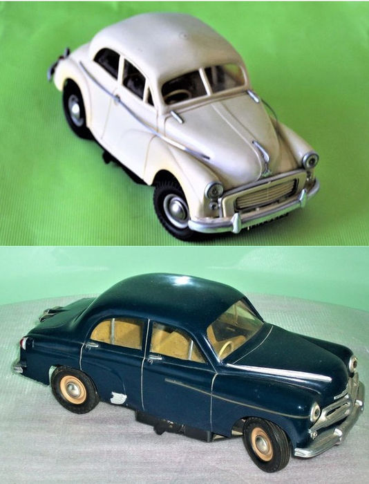 victory england length 19 25 cm lot with 2 battery operated scale cars morris minor and. Black Bedroom Furniture Sets. Home Design Ideas