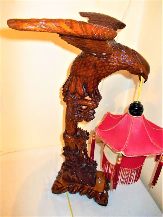 A beautiful eagle cut from wood as a lamp 1950s.