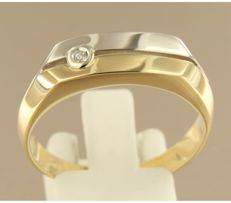 14 kt bicolour gold men's ring, set with a zirconia – ring size 21 (66) ***No reserve***