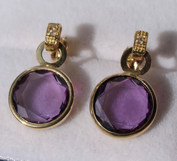 14 kt, Yellow gold earrings, set with amethyst – Size: