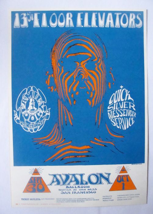 "13th Floor Elevators / Quicksilver Family Dog  Poster San Francisco ""Zebra Man"" Stanley Mouse 1966"