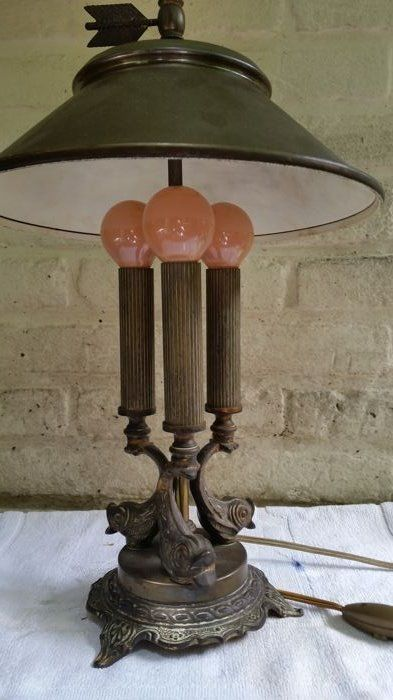 Very unusual desk/hanging lamp, brass or bronze with three pillars and fish. U.S.A. (?) - 1950s