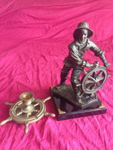Vintage figure of captain at the ship wheel and candlestick, 1960