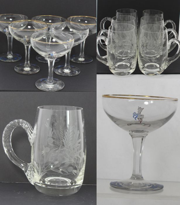 Lot of 6+6 Retro Babycham Champagne Saucers Glasses & Etched Beer Glasses