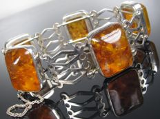 Fischland vintage bracelet/bangle with amber, 1950s