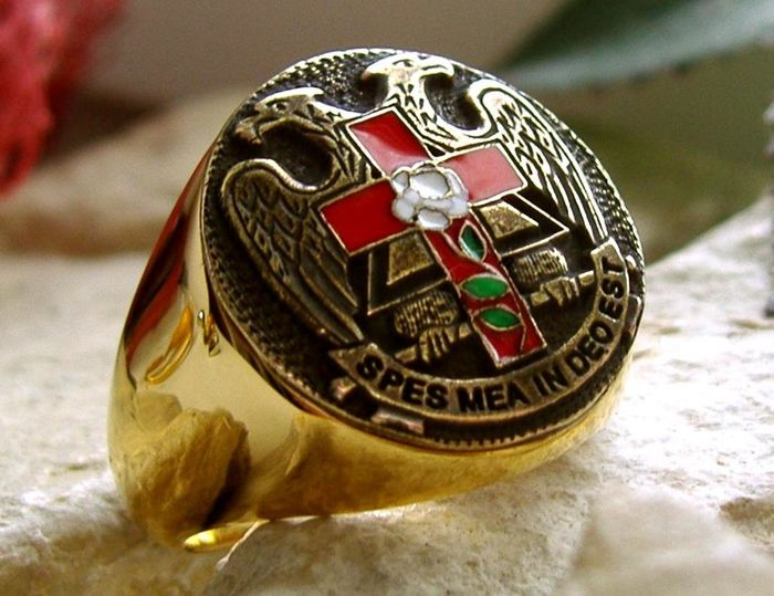 32nd Degree Scottish Rite Double Eagle Ring Hypoallergenic 316L Surgical Steel 24kt Gold Plated