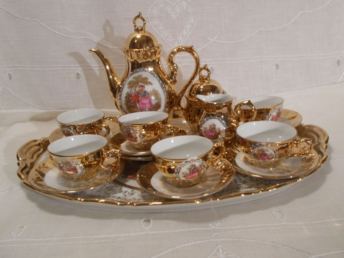 Mocha - Set for 6 people with tray - Wunsiedel Bavaria Germany. Handmade work,  22 carats gold.