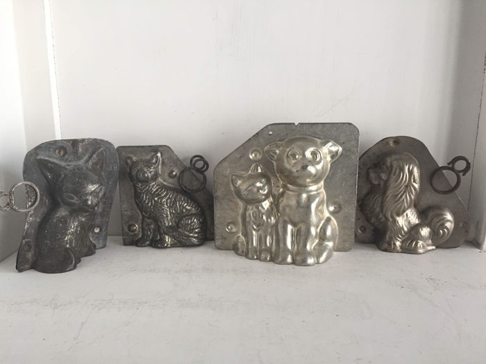 Authentic metal chocolate moulds