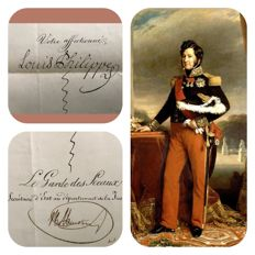 Manuscripts; handwritten letter of the French King Louis-Philippe I - 1845
