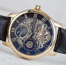 Thomas Earnshaw Longitude  Skeleton – men's watch – 18 kt gold plated, in new condition