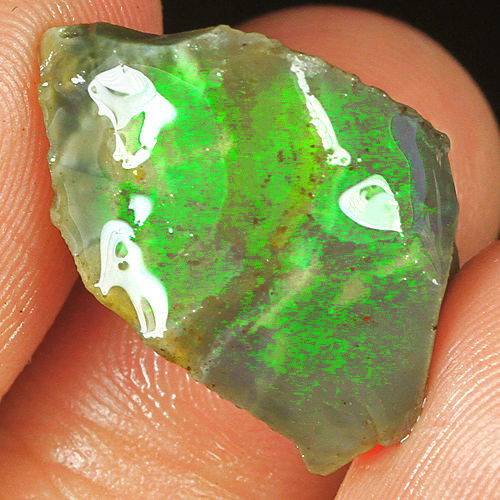 Natural Ethiopian Black Opal Play Of Color Facet Rough Specimen - 20 x 12 x 9 mm - 9.5 ct