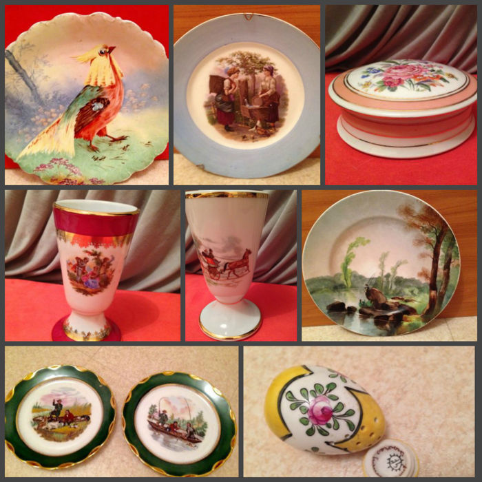 Lot of fine old porcelain enhanced with a 24 carat gold border, painted by hand - Limoges