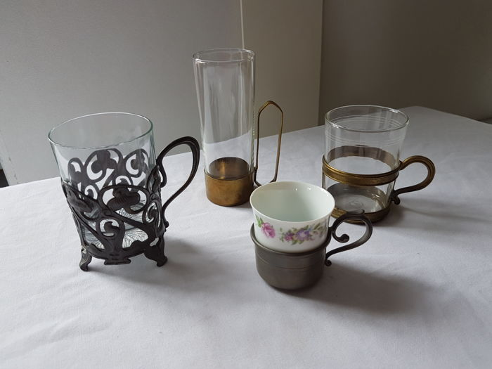 4 classic tea glasses with copper and pewter holders