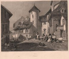 6 stampa di Thomas Roscoe- The Tourist in France -  1834