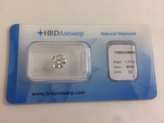 1.17 brilliant-cut diamond Colour H Loupe Clean IF clarity with certificate HRD High Council VG EXC EXC