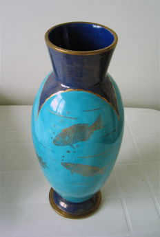 Heiligenstein Auguste (1891-1976) - Large ceramic vase - Fish decoration