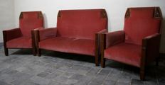 3-piece Art Deco salon furniture: sofa and 2 armchairs
