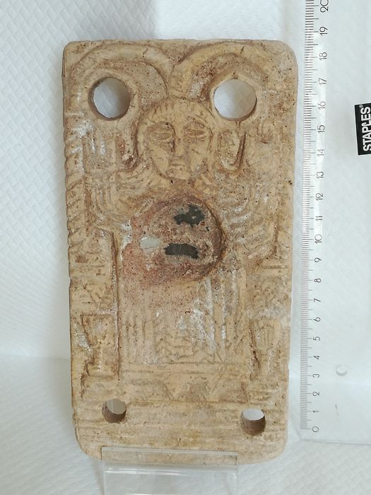 "Medieval Terracotta Byzantine applique depictig ""Our Lady of the Sign"" - 185 x 96 mm"