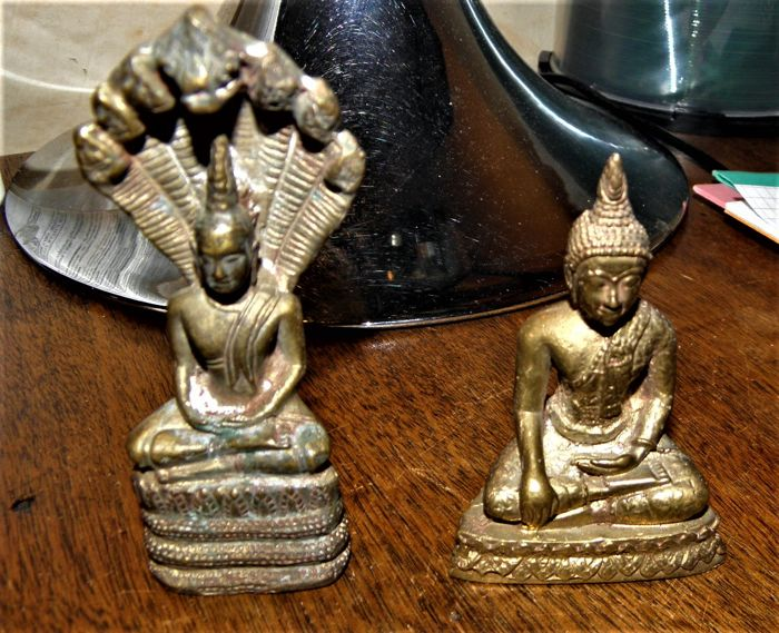 Lot of 2 bronze Buddhas - Thailand and Cambodia - second half of the 20th century
