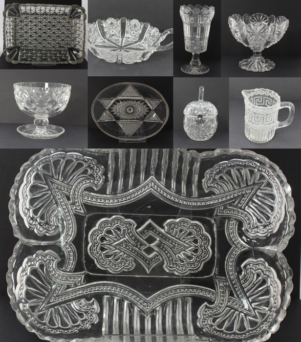 Lot of 10 Decorative Pressed Glass & Cut Crystal Dishes & Vases