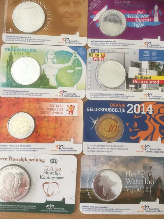 Netherlands - Lot of 15x coin cards with euro coins and 1 medal - 2011/2017