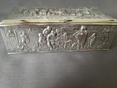 Beautifully decorated silver plated box by Herman Hooijkaas, 1960.