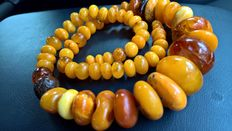Ancient Ethnic beads carved of natural Baltic Amber: no treatment. 85 grams,