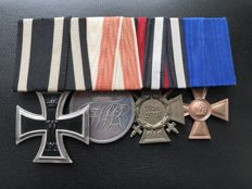 Order clip mounted medal group iron cross 1914; Prussia general decoration; Hindenburg cross maker mark Paul Schulze & co. Lübeck military merit cross 1st Class 15 years