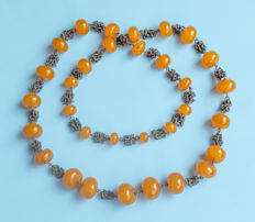 Art Deco Baltic Amber necklace, old honey butterscotch Amber, 86 gram