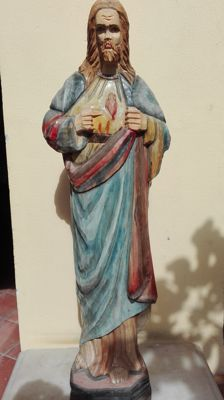 Painted wooden Sacred Heart