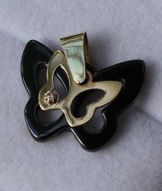 14 kt Yellow gold butterfly pendant with ceramic and diamond, Size: 17 mm