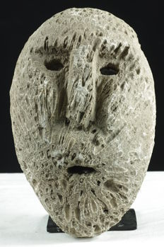 Mask made of fossilised coral - West Timor - Indonesia