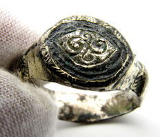 Viking Gold-Gilded Silver Ring with Swastika Motif- 21 mm