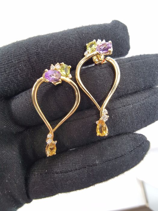 Alfieri & St John 18ct Yellow Gold Diamond & Amethyst & Citrine & Peridot Earrings, Weight 7.9grs, Length 4cm