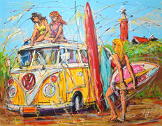 Mathias -  Dutch holiday, yellow surf bus and girls