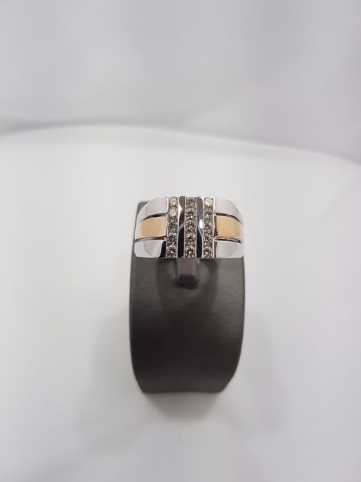 14kt White & Rose Gold Ring with Diamonds 0.63ct - Size U