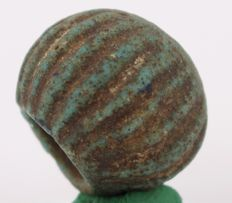 Big blue - green faience bead Ø ca. 2,0 cm - c. 0,79 inches