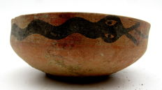 Indus Valley Painted Terracotta Bowl With Snake Motif - 96x35 mm
