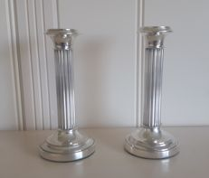 Set of silver pillar candle stands, Van Kempen & Begeer, 1968