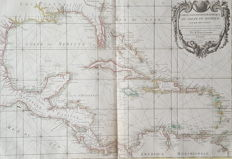 America, Central-America, Gulf of Mexico; Jean / Robert Janvier - Carte Geo-Hydrograpique Du Golfu Du Mexique - approx. 1762