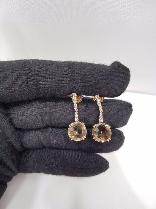Alfieri & St John - 18ct Rose Gold Diamond & Smokey Quartz Earrings - Length 3cm